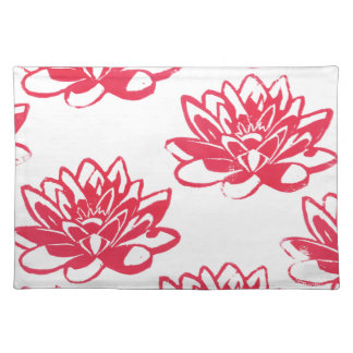 Red water lilies placemat