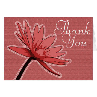 Red Water Lily Color Chic Mod Floral Thank You Card