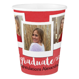 Red Watercolor 3 Photo Graduation Party Paper Cup