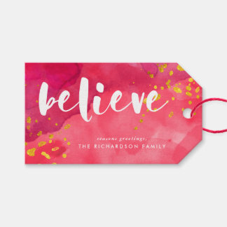 Red Watercolor and Gold Believe Gift Tags