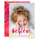 Red Watercolor and Gold Believe | Photo Card