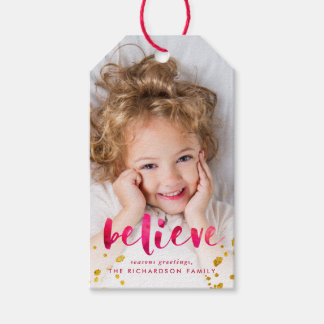 Red Watercolor and Gold Believe | Photo Gift Tags