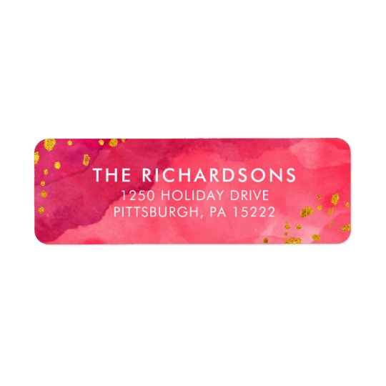 Red Watercolor and Gold Return Address Label