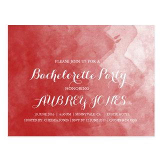 Red Watercolor Bachelorette Party Invitations Postcard