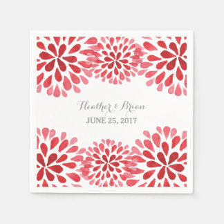 Red Watercolor Chrysanthemum Paper Napkins