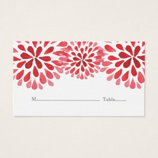 Red Watercolor Chrysanthemum Place Cards