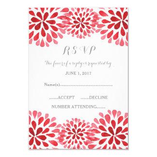 Red Watercolor Chrysanthemum RSVP Card