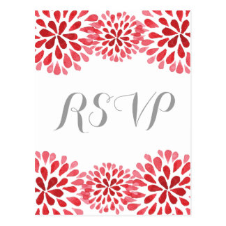 Red Watercolor Chrysanthemum RSVP Postcard