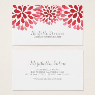 Red Watercolor Chrysanthemums Business Card