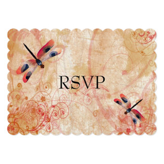 Red Watercolor Dragonflies Wedding Reception RSVP Card