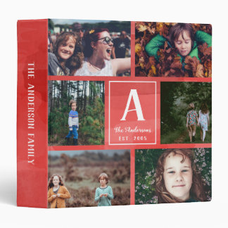 Red Watercolor Family Monogram & Photo Collage Binders