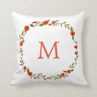 Red Watercolor Floral Wreath | Monogram Throw Pillow