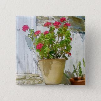 Red watercolor geranium 2 inch square button