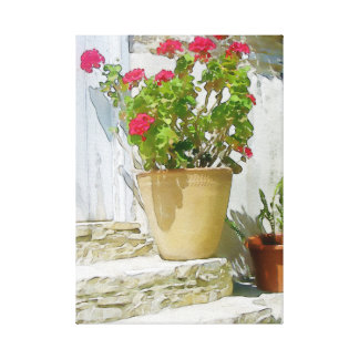 Red watercolor geranium canvas print