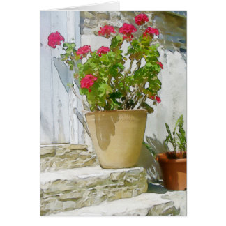 Red watercolor geranium card