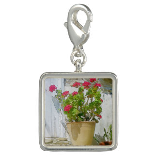 Red watercolor geranium charm