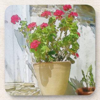 Red watercolor geranium coaster