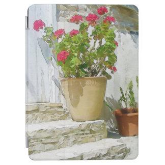 Red watercolor geranium iPad air cover