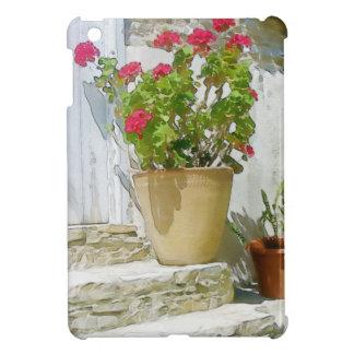 Red watercolor geranium iPad mini case