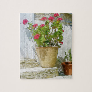Red watercolor geranium jigsaw puzzle