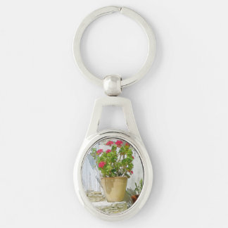 Red watercolor geranium keychain