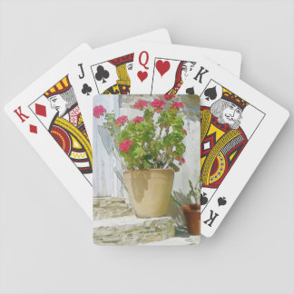 Red watercolor geranium playing cards