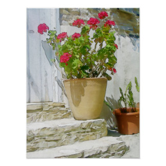 Red watercolor geranium poster