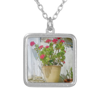 Red watercolor geranium silver plated necklace