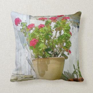 Red watercolor geranium throw pillow