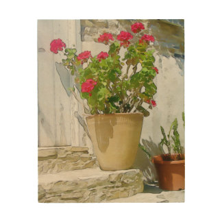 Red watercolor geranium wood wall art
