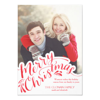 Red Watercolor Hand Lettered Merry Christmas Card