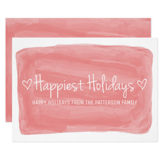 Red Watercolor Happiest Holidays Card