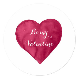 Red watercolor Heart Be my Valentine Card