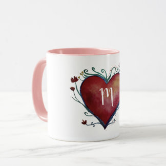 Red Watercolor Heart Custom Initial Mug