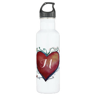 Red Watercolor Heart Custom Initial Water Bottle