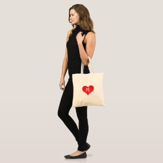 Red Watercolor Heart Personalized Tote Bag