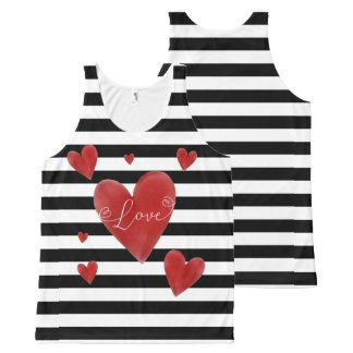 Red Watercolor Hearts & Stripes All-Over-Print Tank Top