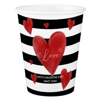 Red Watercolor Hearts & Stripes Paper Cup