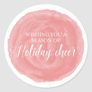 Red Watercolor Holiday Cheer Classic Round Sticker