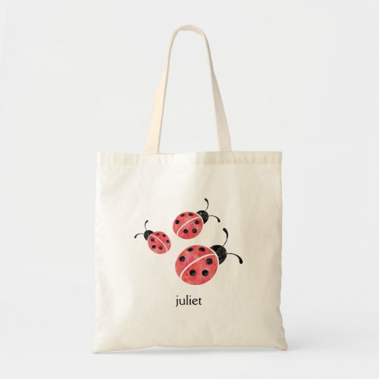 Red Watercolor Ladybugs Personalized Tote Bag
