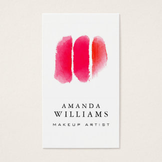 Red Watercolor Makeup Artist Swatches Business Card