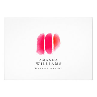 """Red Watercolor Makeup Swatches Flat Notecard 5"""" X 7"""" Invitation Card"""