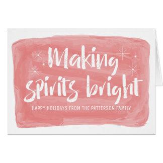 Red Watercolor Making Spirits Bright Holiday Card