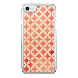 Red Watercolor Oriental Diamond Pattern Carved iPhone 8/7 Case