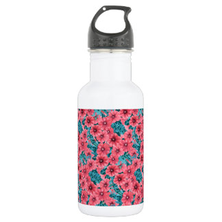 Red watercolor petunia flower pattern 532 ml water bottle