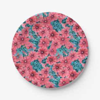 Red watercolor petunia flower pattern 7 inch paper plate