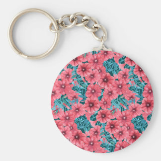 Red watercolor petunia flower pattern basic round button keychain