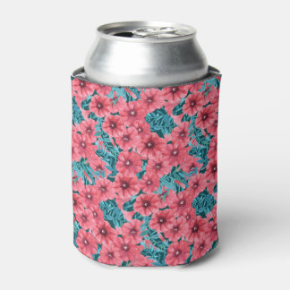 Red watercolor petunia flower pattern can cooler
