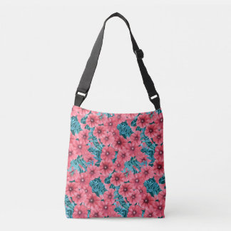 Red watercolor petunia flower pattern crossbody bag