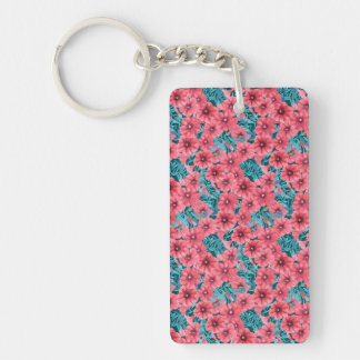 Red watercolor petunia flower pattern Double-Sided rectangular acrylic keychain